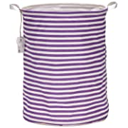 Sea Team 19.7  Large Sized Waterproof Coating Ramie Cotton Fabric Folding Laundry Hamper Bucket Cylindric Burlap Canvas Storage Basket with Stylish Purple & White Stripe Design