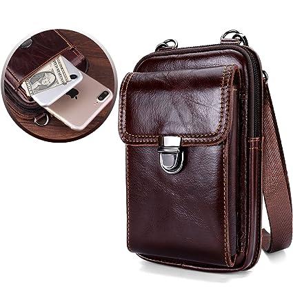 95cf6040f39 Leather Belt Bag, Men Genuine Leather Wallet Cellphone Belt Loop Holster  Case Belt Waist Bag Mini Travel Messager Pouch Crossbody Bag Pack Purse ...