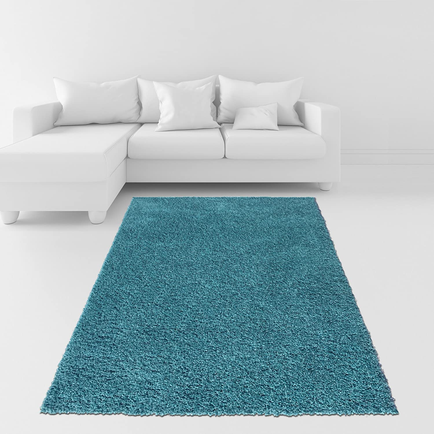 amazoncom soft shag area rug 5x7 plain solid color turquoise blue area rugs for living room bedroom kitchen decorative modern shaggy rugs - Turquoise Area Rug