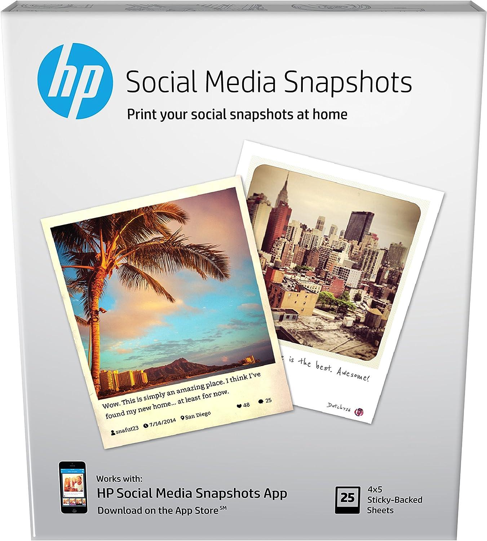 HP Photo Paper, Sticky Back Social Media Snapshots (4x5