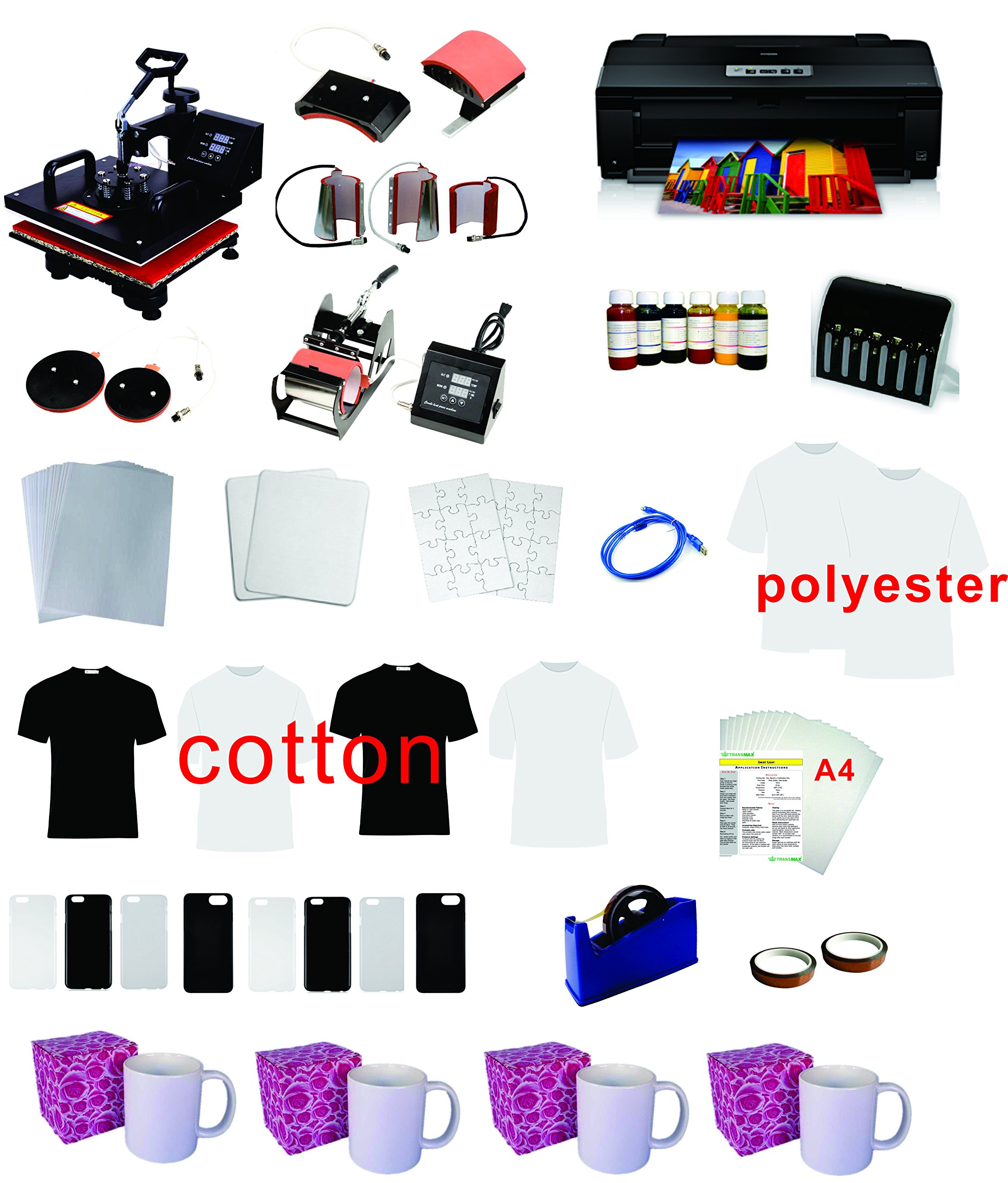 8in1 Professional Sublimation Heat Transfer Machine Epson Printer 1430 CISS KIT