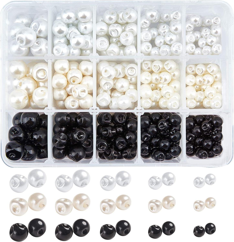 NBEADS 330 botones de bola, botón de perlas de imitación, botones de costura de 1 agujero para manualidades, ropa, trajes de abrigos, vestidos de boda y proyectos de bricolaje