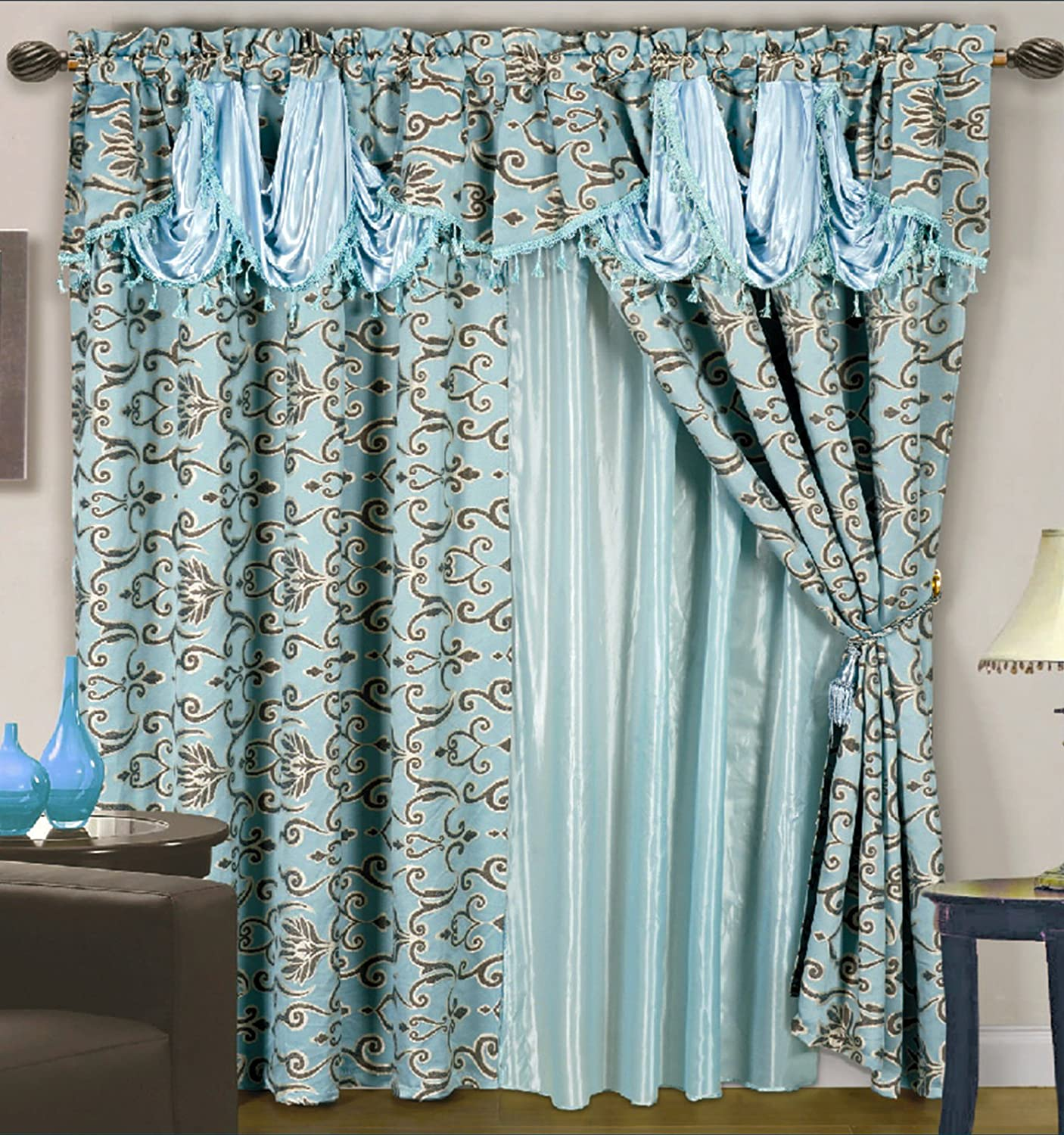 living satin silk curtain curtains product item window for green pleated ruffled details room