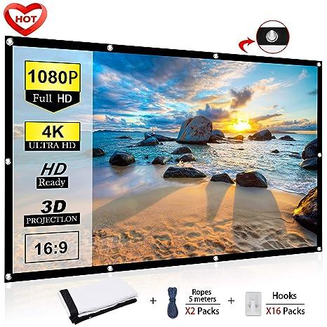 Amazon.com: Ylife - Pantalla para proyector (16:9, HD, 4K ...