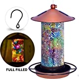 Solar Bird Feeder for Outside - Mosaic Copper Outdoor Hanging Lantern, Solar Powered Hanging Birdfeeder with Hook for…