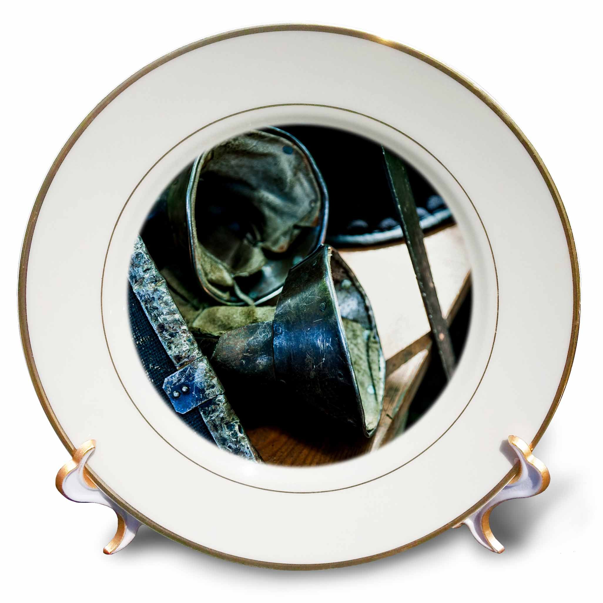 3dRose Alexis Photography - Objects Armor - Medieval shield, combat metal gloves, sword on a wooden bench - 8 inch Porcelain Plate (cp_271937_1)