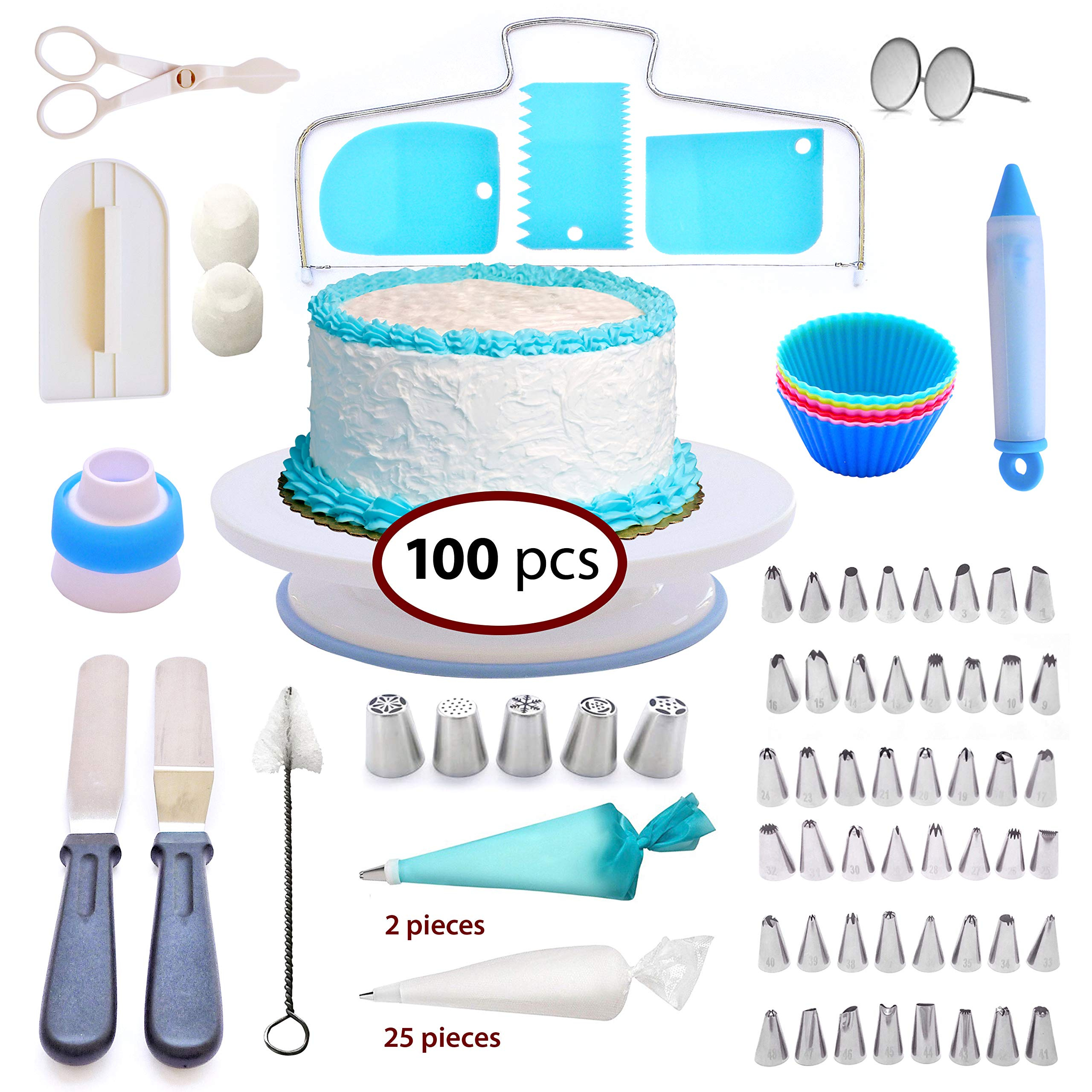Cake Decorating Supplies Set-100 pcs Cupcake Decorating kit Baking Supplies - Nonslip Rotating Turntable-48 Numbered Icing Tips-Pastry Bags-Icing Tools-Russian Piping Noozels,Frosting, for every age