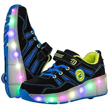 Wheelys Zapatillas de Patinaje para niños y niñas con Ruedas, Infantil, Azul, UK
