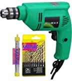Khadija HI MAX 10mm 400W Reverse Forward Rotation Drill Machine with 1 Masonry Bit and 13 Piece HSS Drill Set