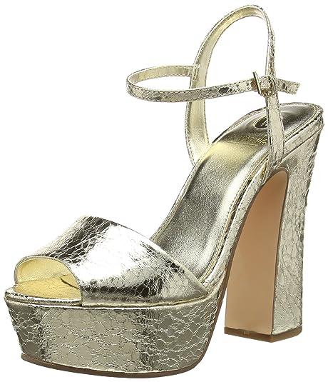 La StradaGold Cracked Leather Look Sandal - Sandali a Punta Aperta Donna, Oro (Gold (1443 - Cracked Gold)), 37