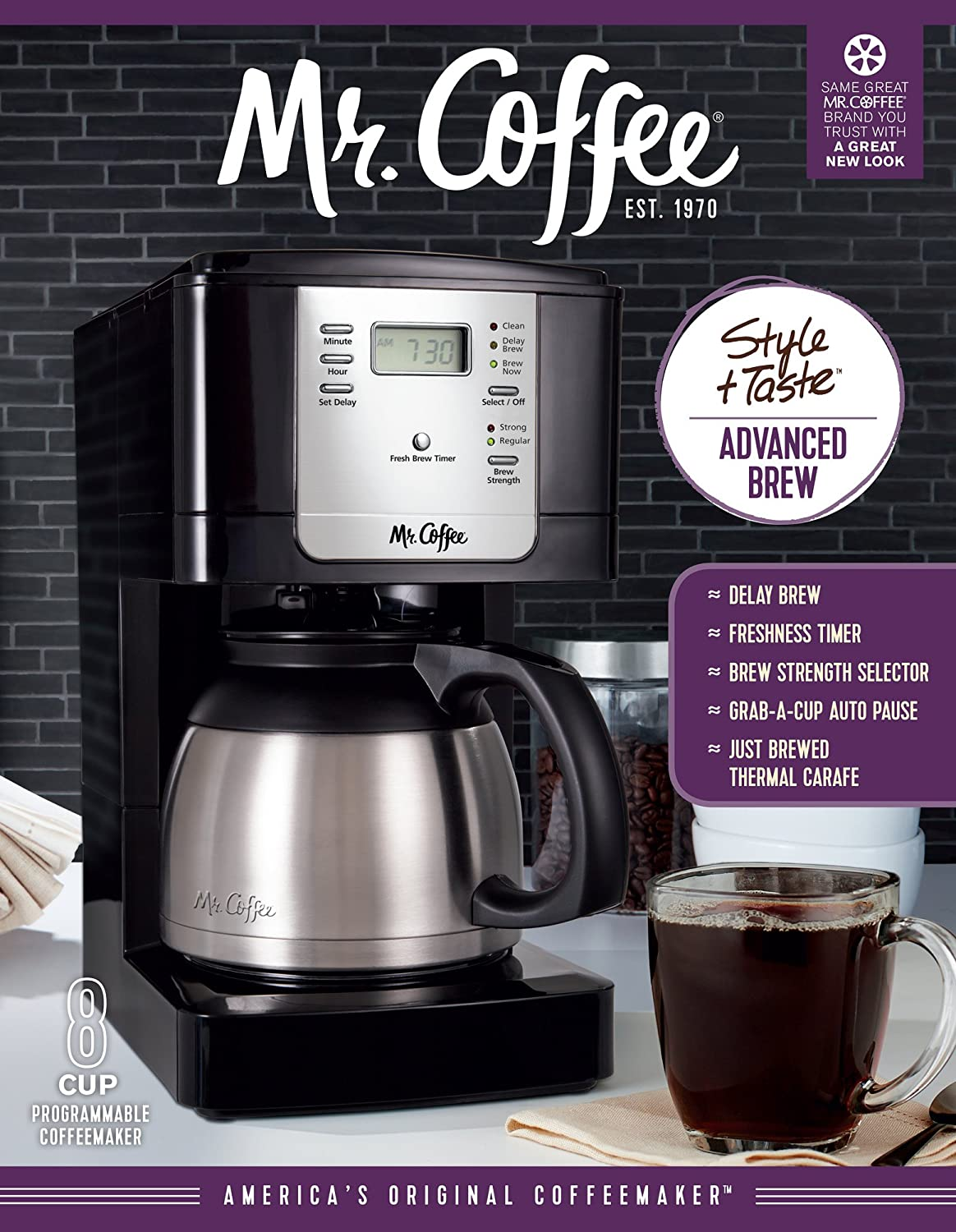 Amazon.com: Mr. Coffee JWTX85 8-Cup Thermal Coffeemaker, Stainless Steel:  Drip Coffeemakers: Kitchen & Dining