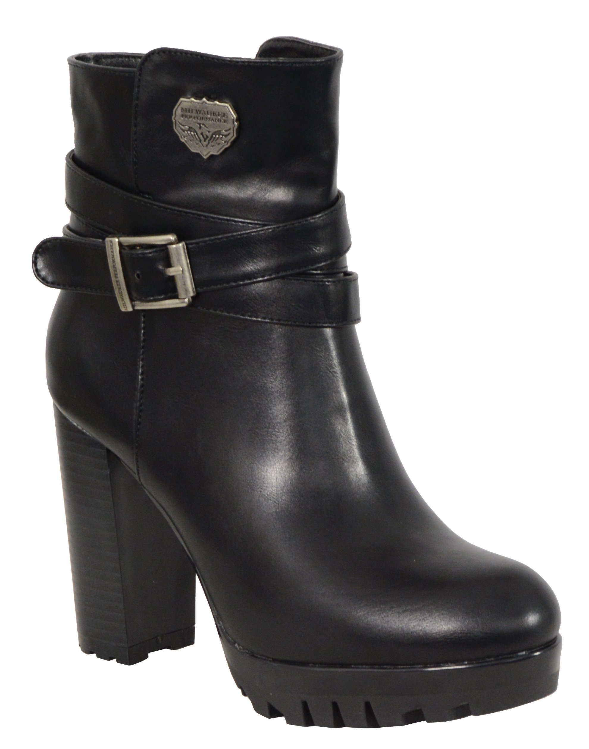 Milwaukee Performance Women's Black Double Strap Side Zipper Boots (Black, Size 6)