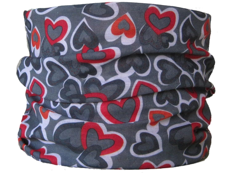 Braga para el cuello, pañuelo de microfibra multifunción, diseño de corazones roja sobre fondo gris wendywwoo