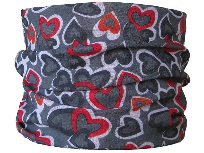Braga para el cuello pa/ñuelo de microfibra multifunci/ón dise/ño de corazones roja sobre fondo gris