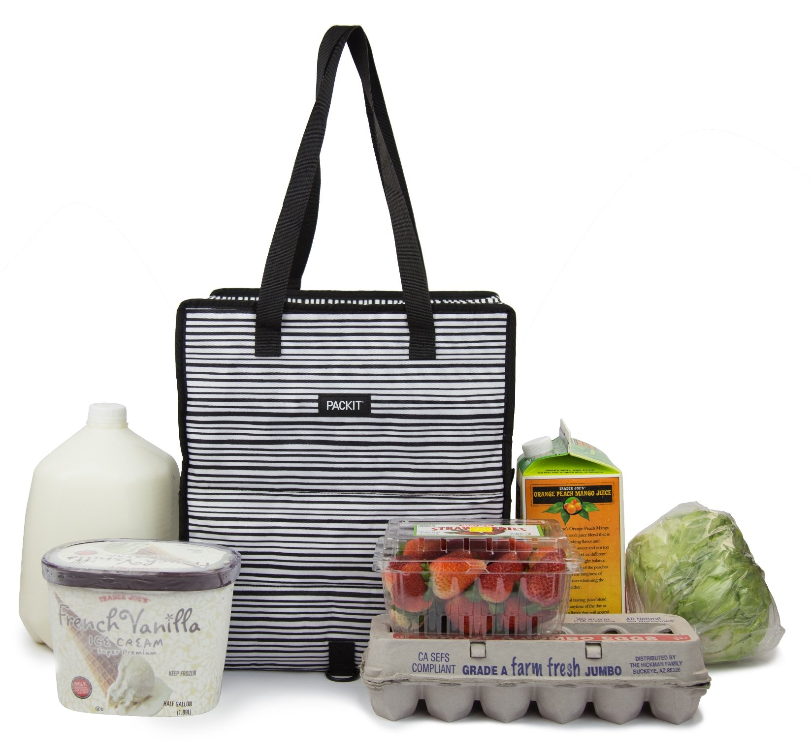 PackIt Freezable Grocery Shopping Bag with Zip Closure, Wobbly Stripes by PackIt (Image #7)