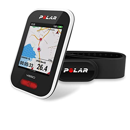 Polar V650 HR - Ciclocomputador con GPS y sensor de Frecuencia Cardíaca H10. Mapas y seguimiento de rutas - Strava live segments - Luz frontal - ...