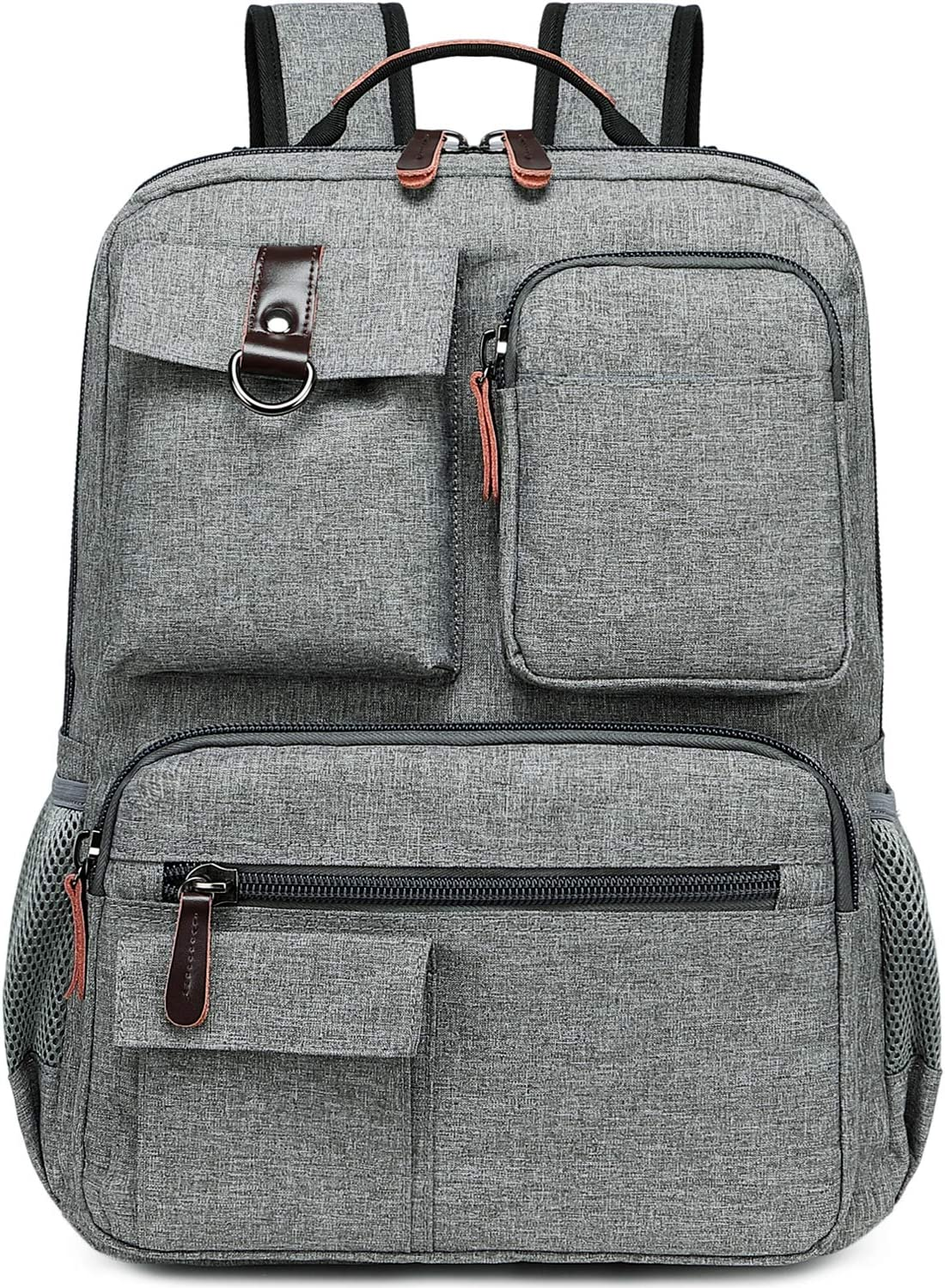 School Backpack Vintage Laptop Backpacks Men Women Rucksack Bookbags (Grey-1)