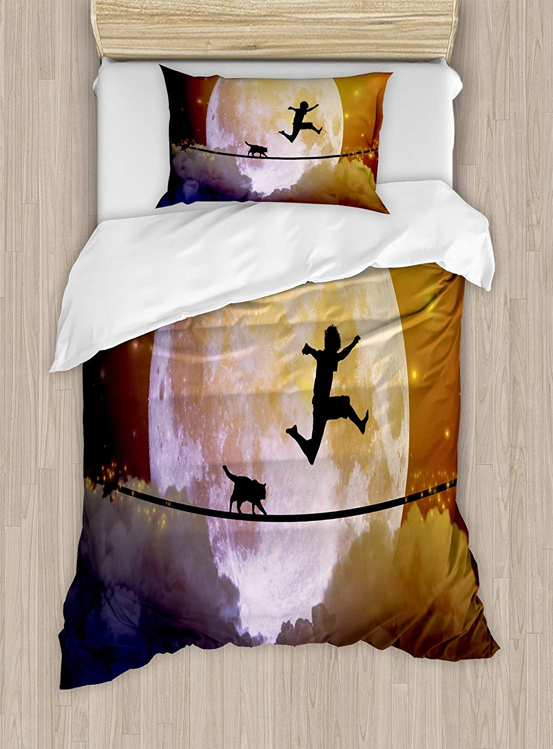 Adventure Duvet Cover Set,Boy and a Cat Walking on a Rope in Front of the Moon Fantastic Imagery Print,Cosy House Collection 4 Piece Bedding Sets