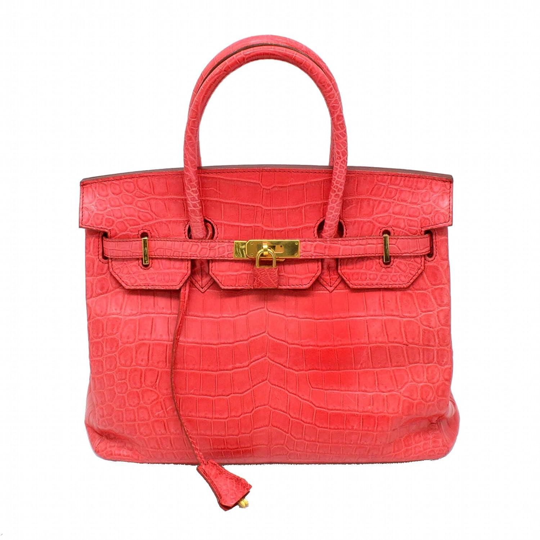 ノーブランド マットクロコダイル レザー ハンドバッグ 書類鞄 レッド 赤 ゴールド金具 中古 B07CGH755T