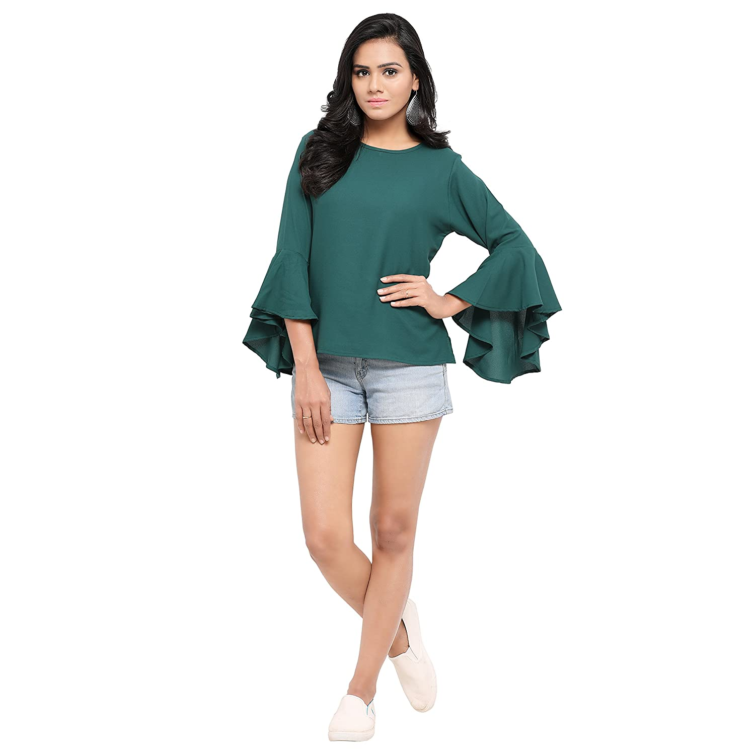 Serein Women's Top (Green crepe top with flute sleeves)