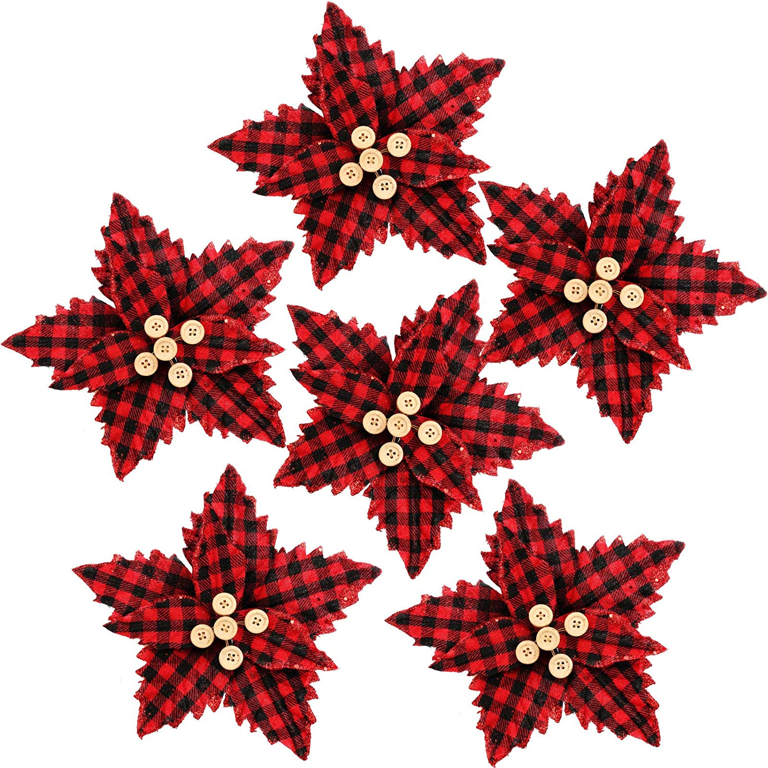 FUNARTY 10 Pieces Red Buffalo Plaid Poinsettias Christmas Tree Ornaments Artificial Christmas Flowers for Christmas Tree Wreaths Garland Holiday Decorations, 8.3-Inch