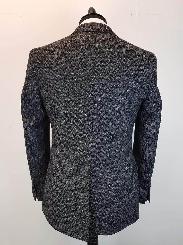 Charcoal Classic Vintage Wool Blend Tweed Herringbone Tailored Dark Grey Men Suit 3 Pieces