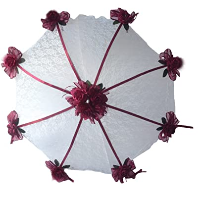"32"" Bridal Shower Wedd Burgundy Roses Umbrella Parasol"