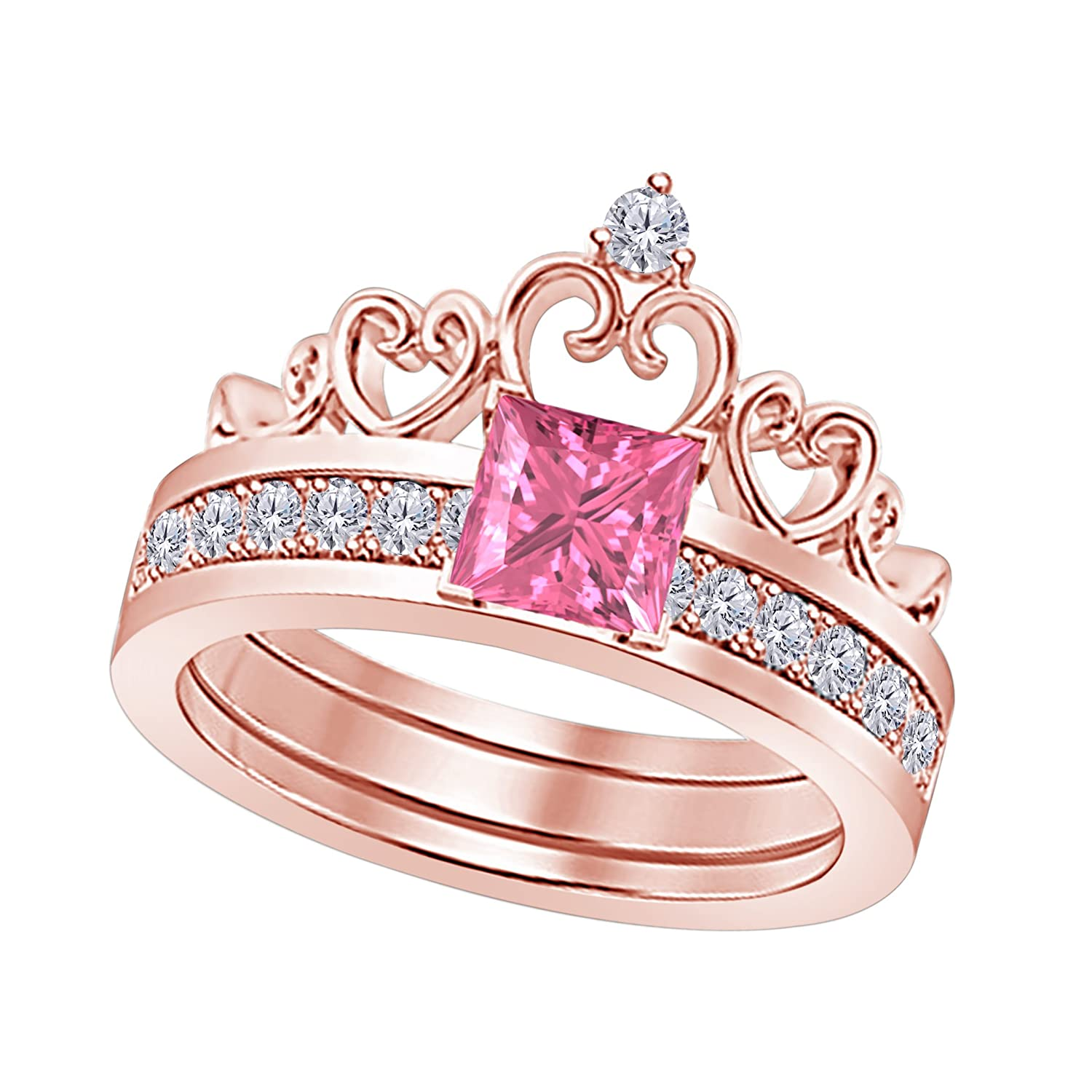 Amazon.com: 14k Rose Gold Plated Alloy Princess Cut 6MM Created Pink ...