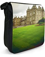 Palace of Holyroodhouse In Edinburgh, Scotland Small Black Canvas Shoulder Bag / Handbag