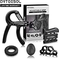 Grip Strength Equipment, Arteesol Hand Grip Strengthener Forearm Trainer 5 Pack Adjustable Hand Gripper(11-132lbs), Finger Exerciser, Finger Stretcher, Exercise Ring & Stress Relief Grip Ball for Athletes and Musicians
