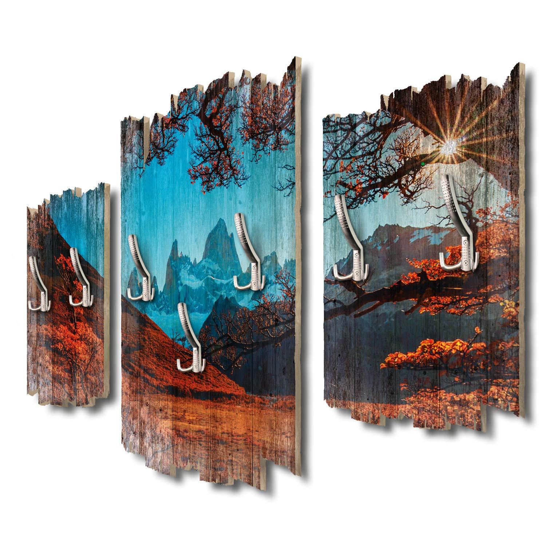 Kreative Feder Fitz Roy Berg Designer Wandgarderobe Flurgarderobe Wandpaneele 95 x 60 cm aus MDF-Holz DTGH010