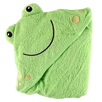 Amazon Com Luvable Friends Unisex Baby Cotton Animal Face Hooded Towel Frog One Size Hooded Baby Bath Towels Baby