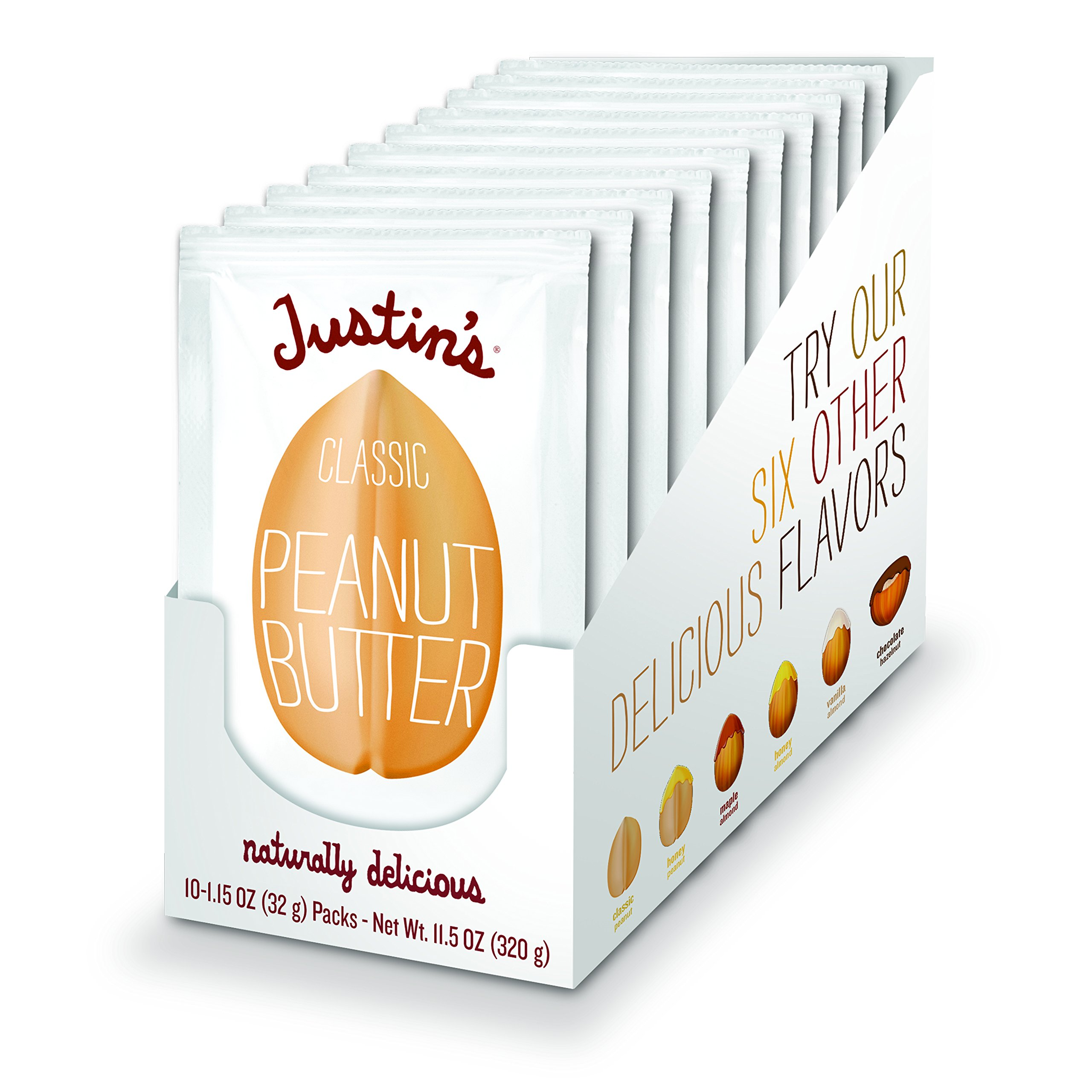 Classic Peanut Butter Squeeze Packs by Justin's, Only Two Ingredients, Gluten-free, Non-GMO, Vegan, Sustainably Sourced, Pack of 10 (1.15oz each)