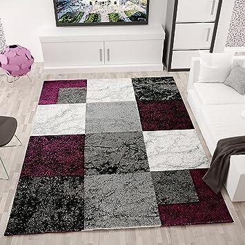 Wohnzimmer Teppich Modern Design Schwarz Lila Grau Marmor Stein Optik Velours Kariert