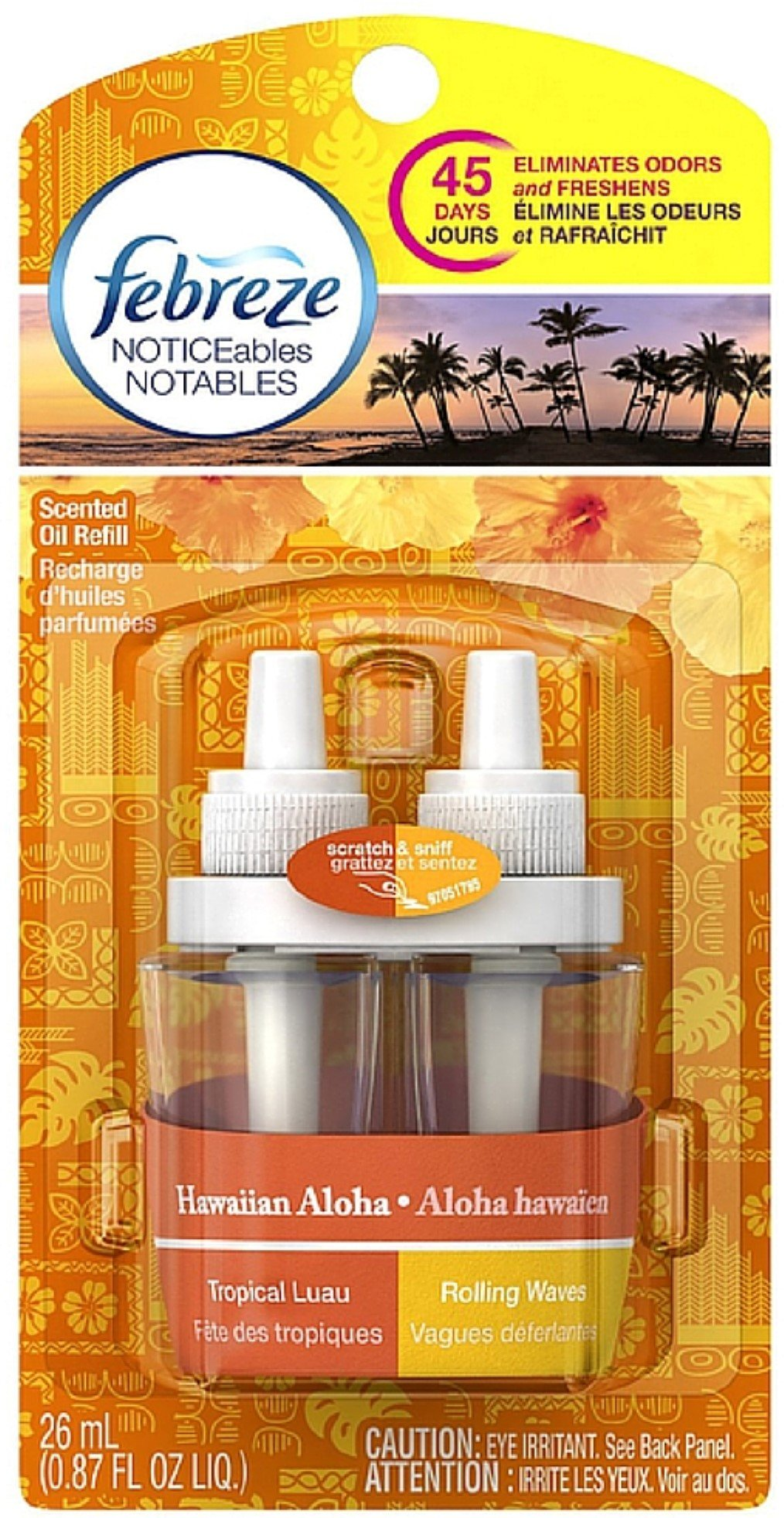 Febreze NOTICEables Dual Refill Scented Oils, Hawaiian Aloha 0.87 oz (Pack of 8)