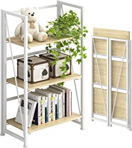 4NM No-Assembly Folding Bookshelf Storage Shelves 3 Tiers Vintage Bookcase Standing Racks Study Organizer Home Office (Natural and White)