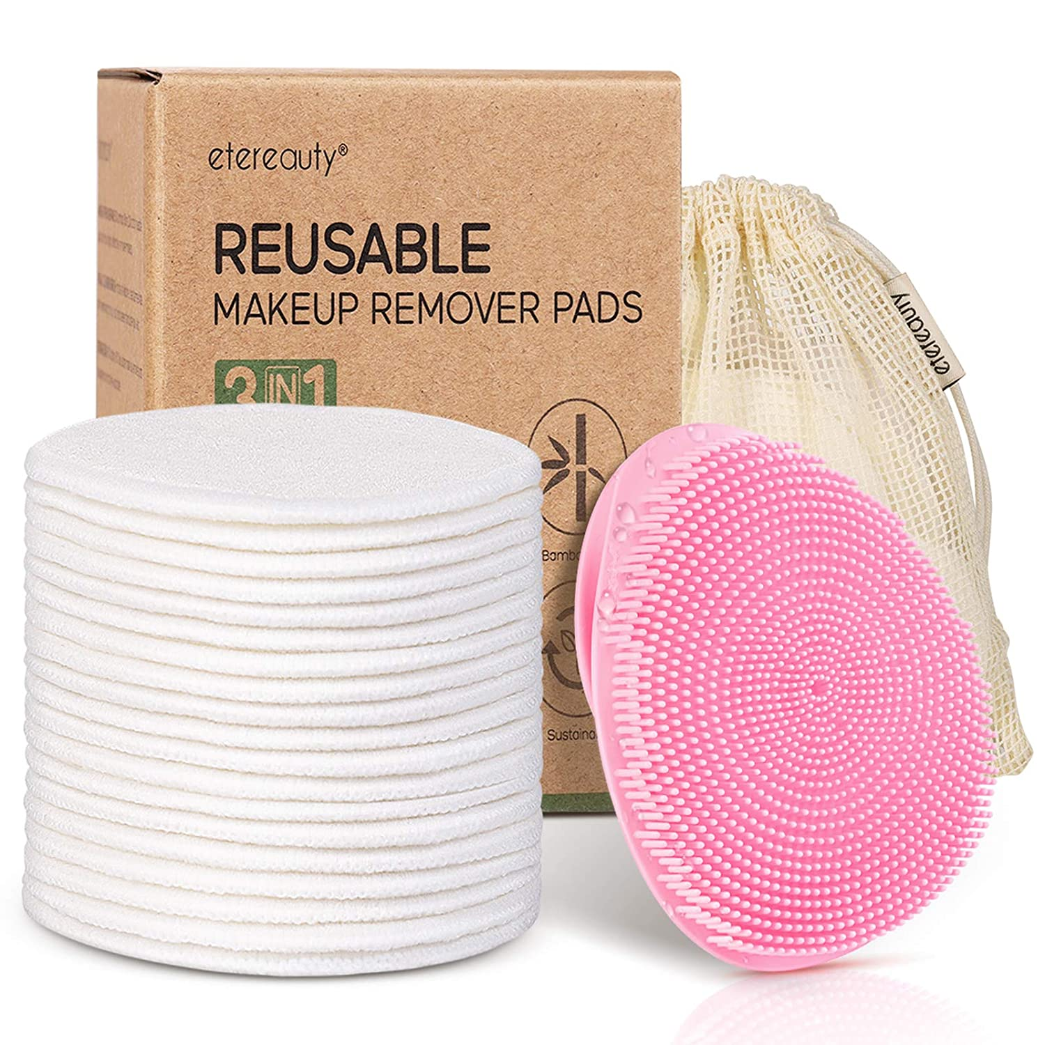 Reusable Cotton Pads for Face & Face Scrubber, Reusable Makeup Remover Pads Silicone Face Scrubber Set (Pink)