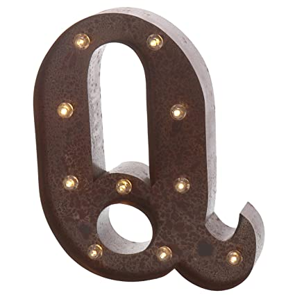 barnyard designs metal marquee letter q light up wall initial wedding home and bar decoration