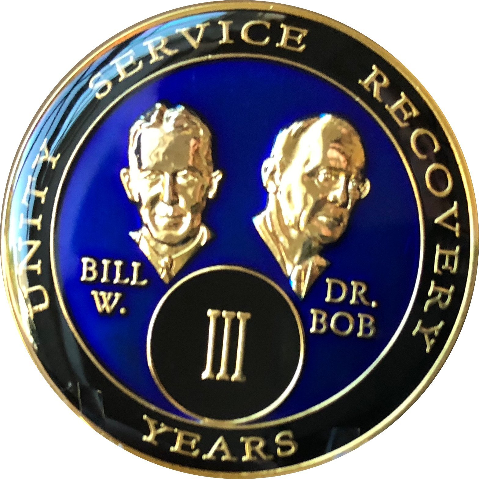 3 Year Founders Blue Tri-Plate AA Medallion Bill & Bob Chip III
