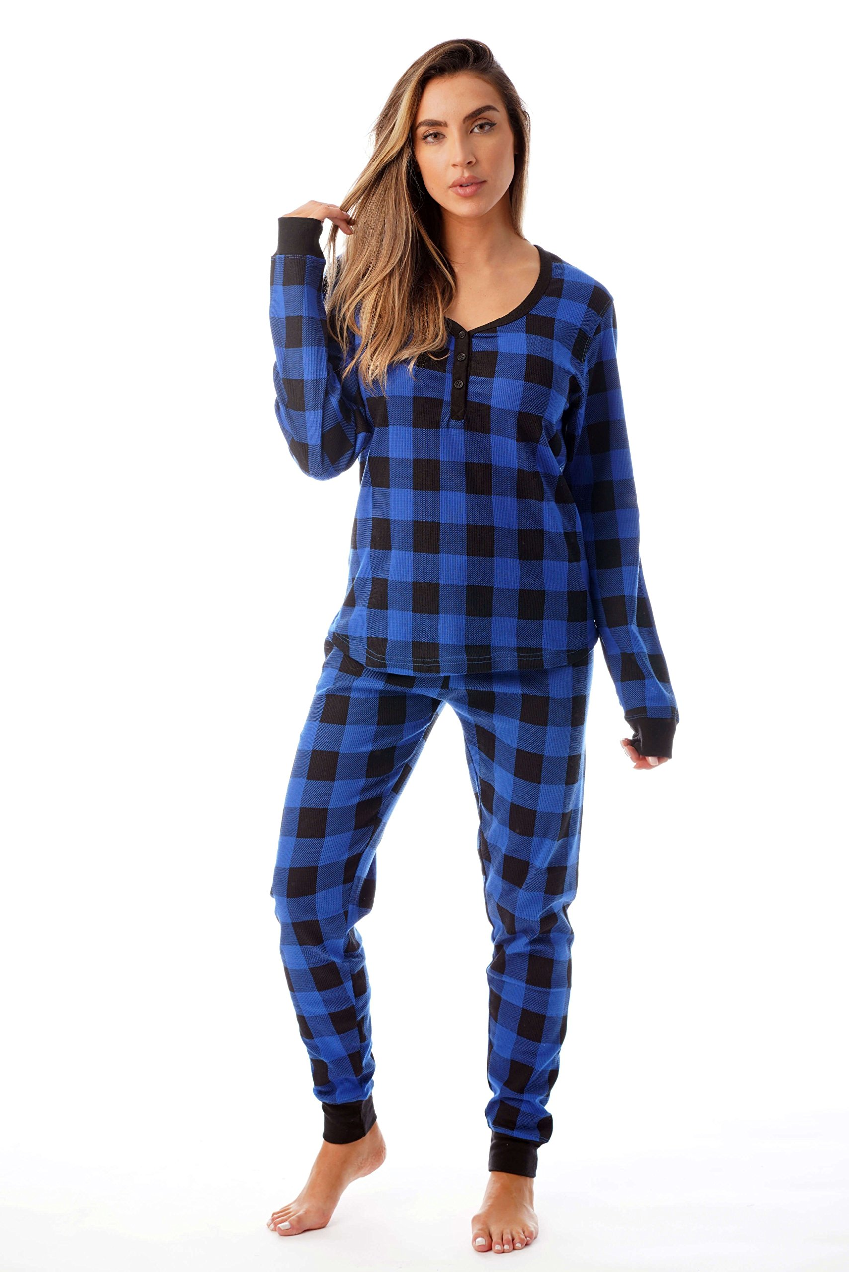 #followme Buffalo Plaid 2 Piece Base Layer Thermal Underwear Set for Women 6372-10195-NEW-ROY-XS by #followme