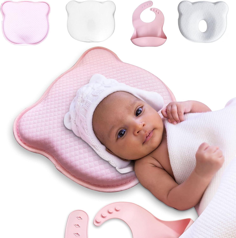 Almohada Viscoelástica Infantil para Forma de la Cabeza del Bebe - Pack x4 Cojin para Prevenir y Curar la Cabeza Plana del Bebe en Cuna - Almohada Anticolicos para la Seguridad de Bebes Recién Nacidos