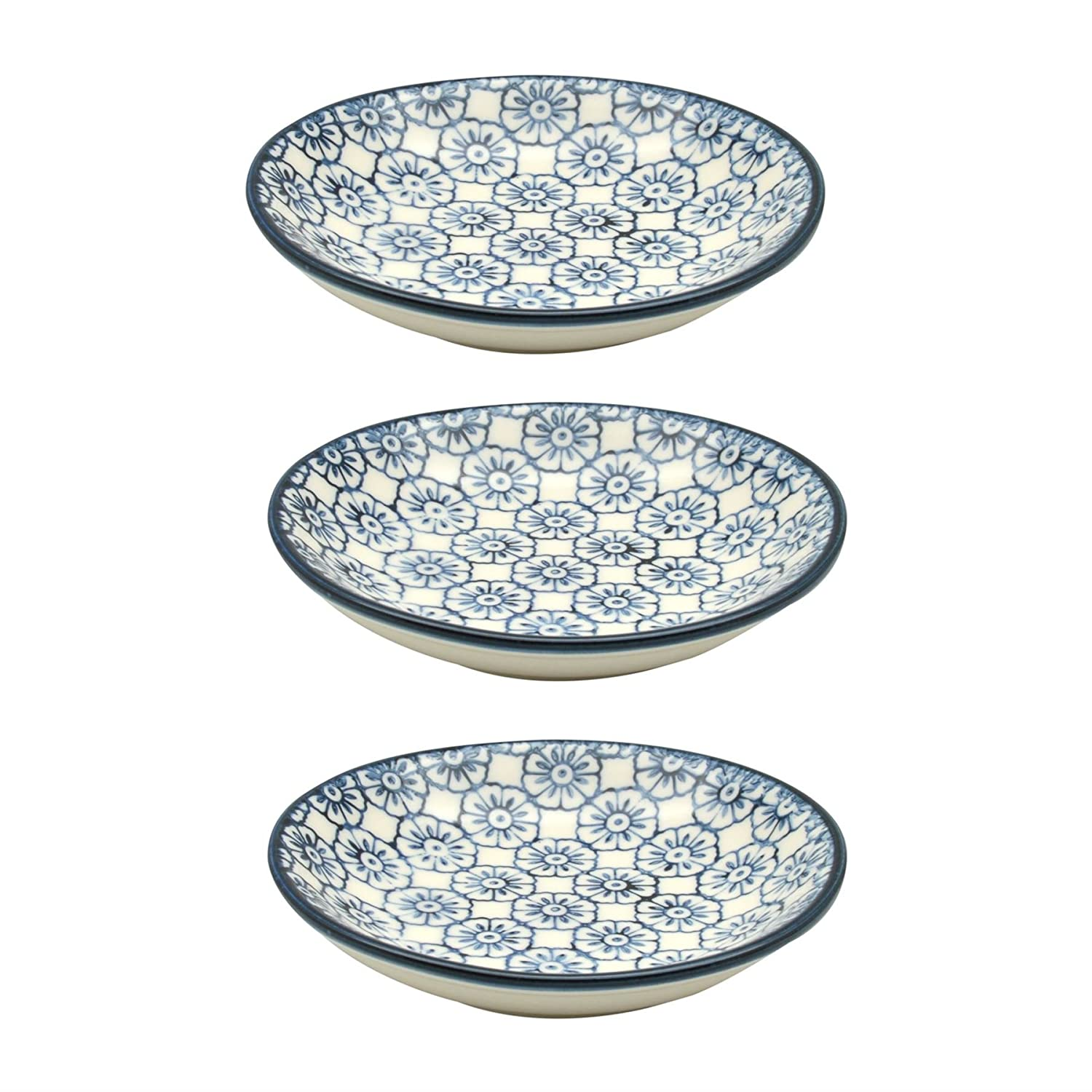 Small Patterned Rice / Soy Sauce / Olive Oil / Dipping Dish - 101mm - Blue Flower - Box of 3 Nicola Spring