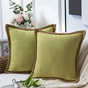 Phantoscope Pack of 2 Farmhouse Decorative Throw Pillow Covers Burlap Linen Trimmed Tailored Edges Water Green 18 x 18 inches, 45 x 45 cm
