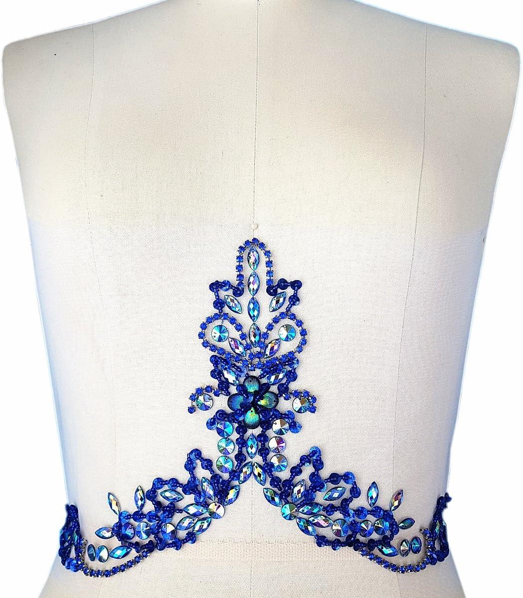 AB Handmade Beaded V-Neck Sequin Sew On Neckline Rhinestone Crystal Trim Bridal Applique Design Patch Sewing for Wedding Dresses DIY Belt Decoration