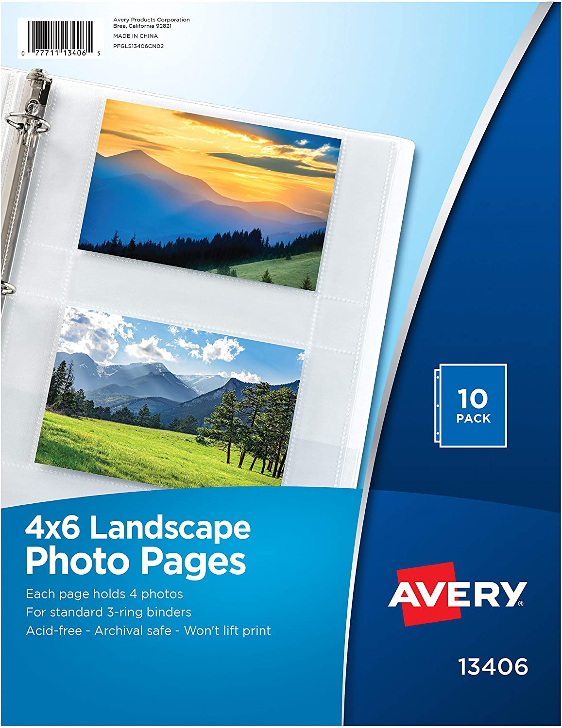 Avery Photo Storage Pages For Six 4 X 6 Mixed Format Photos 3-Hole Punched 10//PK