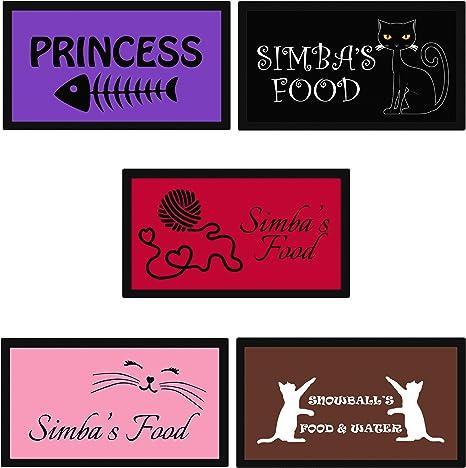 Alfombrilla personalizada para gatos con nombre para alimentos y agua, personalizable, color y diseño