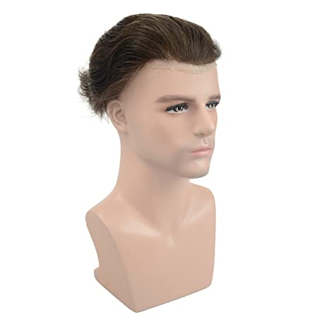 Amazon.com : Human Hair Thin Skin Toupee Hairpieces For Men, Veer European Virgin Human Hair Replacement Wigs Natural Wave V-looped Hair Dark Brown ...