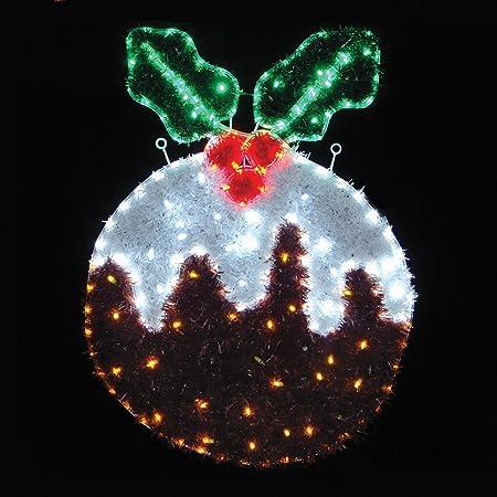 mr crimbo festive led rope light and tinsel christmas pudding decoration indooroutdoor