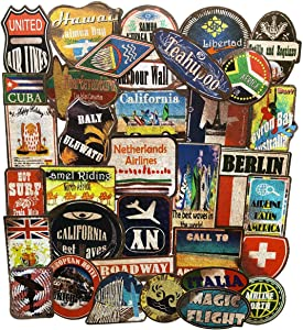 36PCS Large Vintage Beach Surfing Sign Stickers Waterproof Laptop Stickers Car Bicycle Suitcase Computer Water Bottle Mobile Phone Stickers Decals (Retro Sandbeach 36)