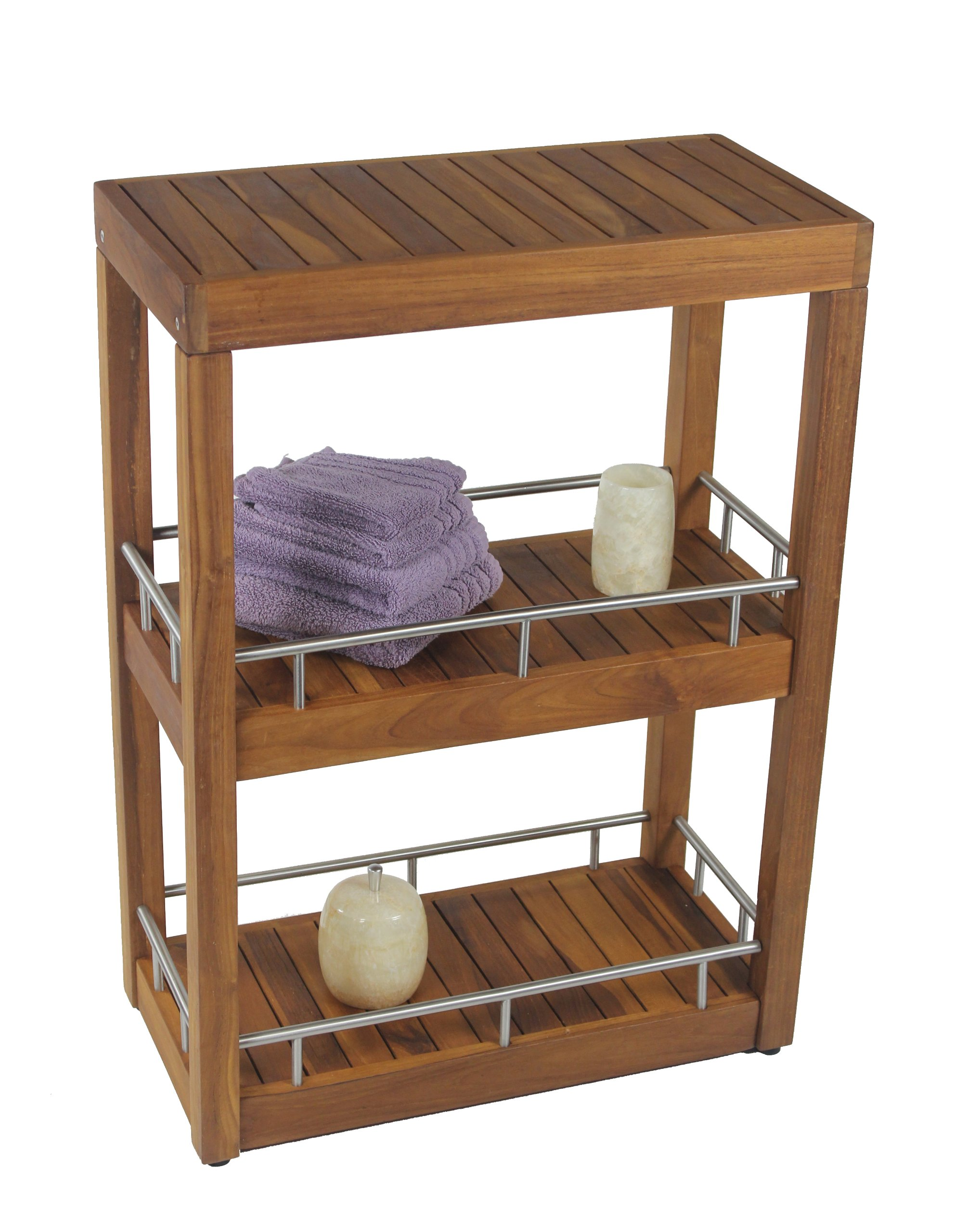 The Original Sula Rectangle Three Tier Teak & Stainless Bath Stand